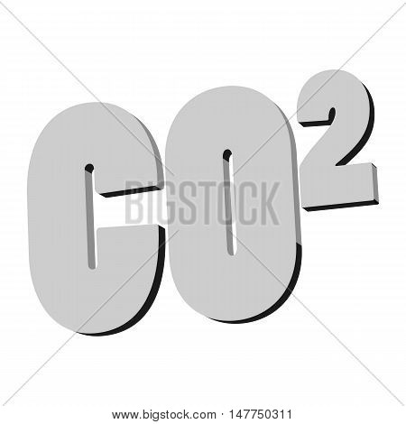 Formula of carbon dioxide icon in black monochrome style isolated on white background. Colorless gas symbol vector illustration