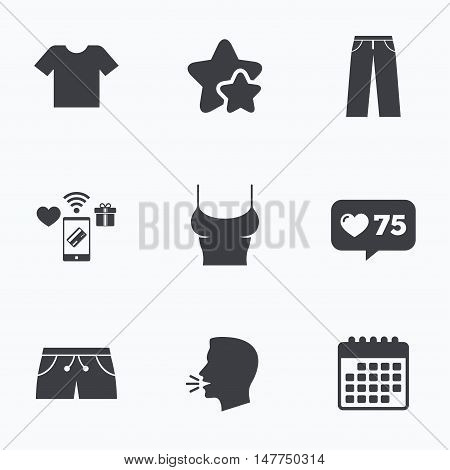 Clothes icons. T-shirt and pants with shorts signs. Swimming trunks symbol. Flat talking head, calendar icons. Stars, like counter icons. Vector