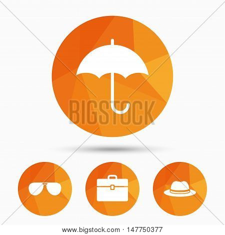 Clothing accessories icons. Umbrella and sunglasses signs. Headdress hat with business case symbols. Triangular low poly buttons with shadow. Vector