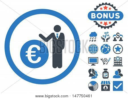 Euro Economist icon with bonus design elements. Vector illustration style is flat iconic bicolor symbols, smooth blue colors, white background.