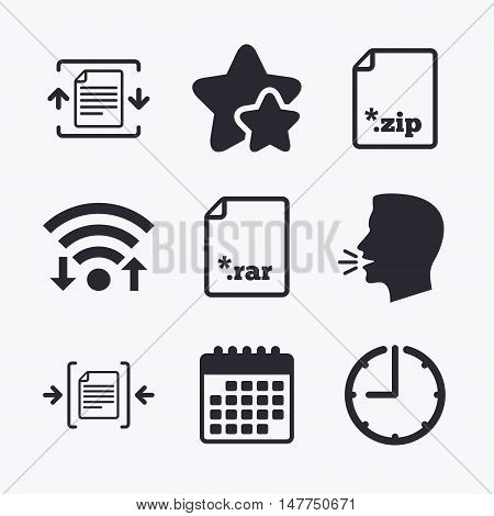 Archive file icons. Compressed zipped document signs. Data compression symbols. Wifi internet, favorite stars, calendar and clock. Talking head. Vector