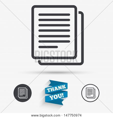 Copy file sign icon. Duplicate document symbol. Flat icons. Buttons with icons. Thank you ribbon. Vector