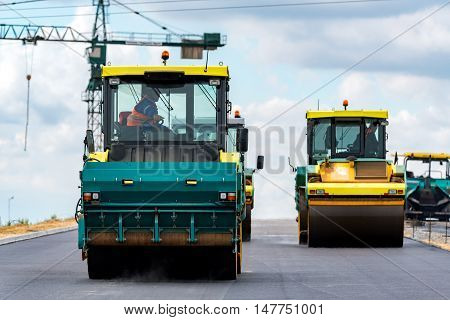 Road Rollers Working On The Construction Site