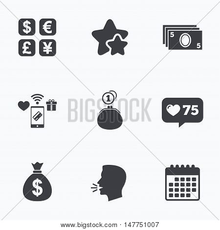 Currency exchange icon. Cash money bag and wallet with coins signs. Dollar, euro, pound, yen symbols. Flat talking head, calendar icons. Stars, like counter icons. Vector