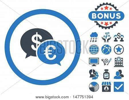 Euro Transactions icon with bonus design elements. Vector illustration style is flat iconic bicolor symbols, smooth blue colors, white background.