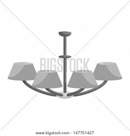 Chandelier icon in black monochrome style isolated on white background. Illumination symbol vector illustration