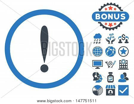 Exclamation Sign icon with bonus design elements. Vector illustration style is flat iconic bicolor symbols, smooth blue colors, white background.