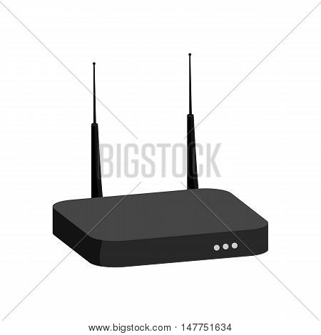 Modem icon in black monochrome style isolated on white background. Internet symbol vector illustration