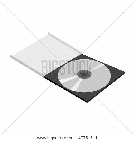 CD in the box icon in black monochrome style isolated on white background. Record symbol vector illustration