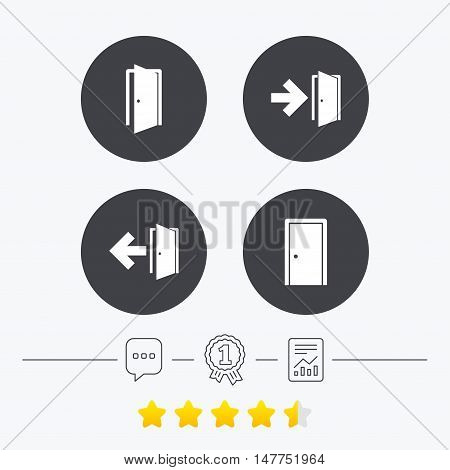 Doors icons. Emergency exit with arrow symbols. Fire exit signs. Chat, award medal and report linear icons. Star vote ranking. Vector