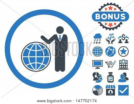 Global Manager icon with bonus pictogram. Vector illustration style is flat iconic bicolor symbols, smooth blue colors, white background.