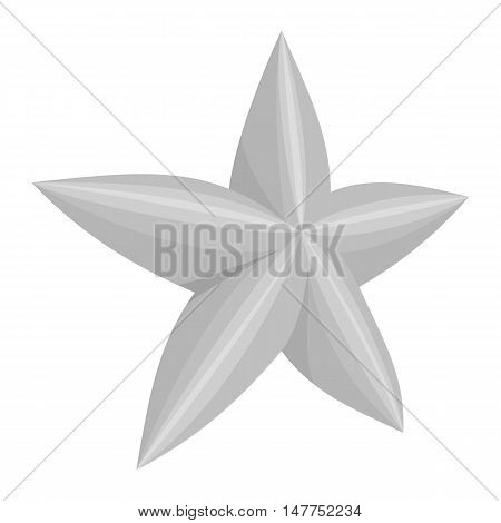 Five-pointed star icon in black monochrome style isolated on white background vector illustration