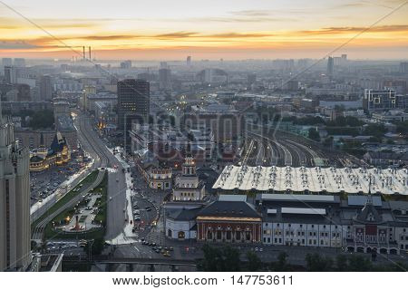 Kazansky Railway Station during sunrise in Moscow, Russia, panoramic view
