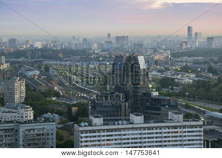 Railway Station and office buildings at morning in Moscow, Russia, panoramic view