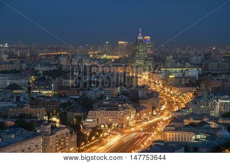 Residential buildings, Garden Ring road at summer night in Moscow, Russia