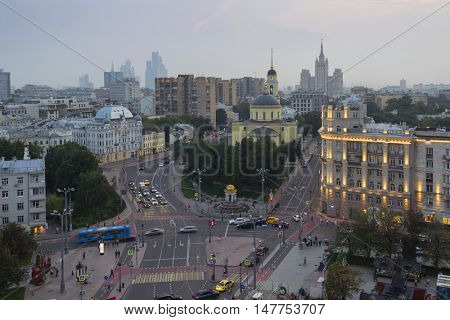 Church of Ascension of Lord near Nikitsky Gate in Moscow at evening, Russia, view from ITAR-TASS building