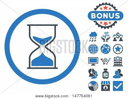 Hourglass icon with bonus pictogram. Vector illustration style is flat iconic bicolor symbols, smooth blue colors, white background.
