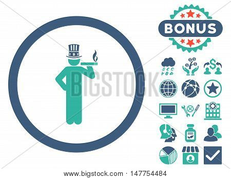 American Capitalist icon with bonus pictogram. Vector illustration style is flat iconic bicolor symbols, cobalt and cyan colors, white background.