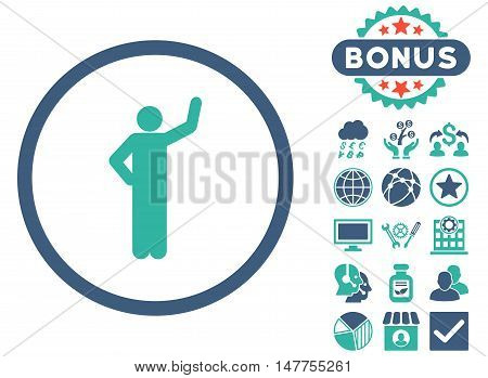 Assurance icon with bonus pictures. Vector illustration style is flat iconic bicolor symbols, cobalt and cyan colors, white background.