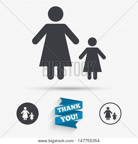 One-parent family with one child sign icon. Mother with daughter symbol. Flat icons. Buttons with icons. Thank you ribbon. Vector