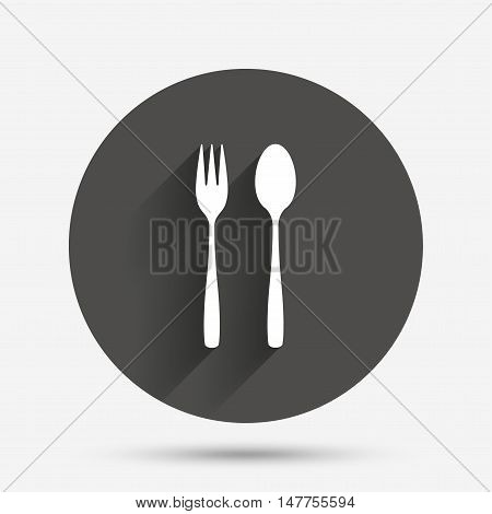 Eat sign icon. Cutlery symbol. Dessert fork and teaspoon. Circle flat button with shadow. Vector