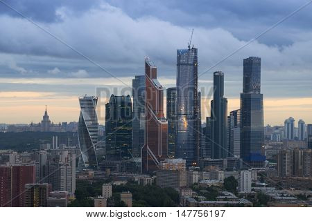 MOSCOW - JUL 8, 2016: Modern Moscow International Business Center during sunet. Investments in Moscow International Business Center was approximately 12 billion dollars