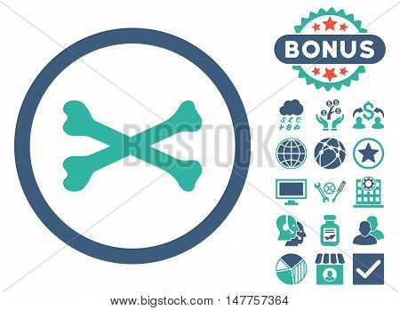 Bones Cross icon with bonus images. Vector illustration style is flat iconic bicolor symbols, cobalt and cyan colors, white background.