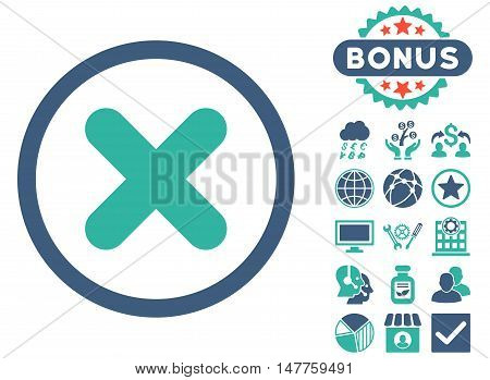 Cancel icon with bonus symbols. Vector illustration style is flat iconic bicolor symbols, cobalt and cyan colors, white background.