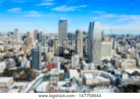 Blurred background .View of Tokyo city in winter from Tokyo tower