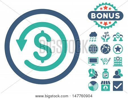 Chargeback icon with bonus pictures. Vector illustration style is flat iconic bicolor symbols, cobalt and cyan colors, white background.