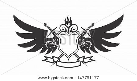 Vector Monochrome Modern Cartoon Shield Emblem with Wings, Cross Sword and Ribbon
