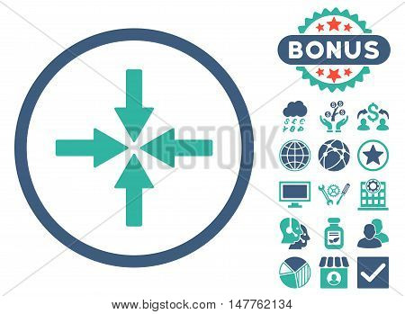 Collide Arrows icon with bonus design elements. Vector illustration style is flat iconic bicolor symbols, cobalt and cyan colors, white background.