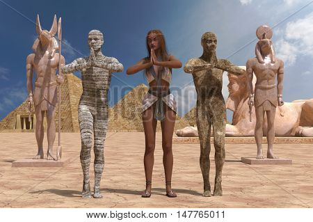 3D Illustration Egyptian Woman And Mummies Isolated on White Background