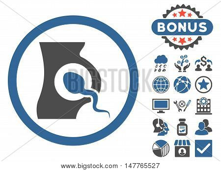 Artificial Insemination icon with bonus images. Vector illustration style is flat iconic bicolor symbols, cobalt and gray colors, white background.