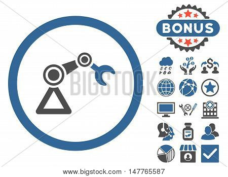 Artificial Manipulator icon with bonus design elements. Vector illustration style is flat iconic bicolor symbols, cobalt and gray colors, white background.