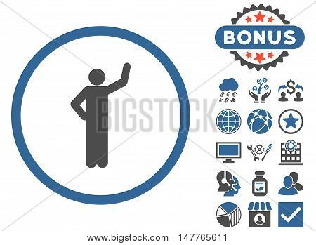 Assurance icon with bonus pictures. Vector illustration style is flat iconic bicolor symbols, cobalt and gray colors, white background.