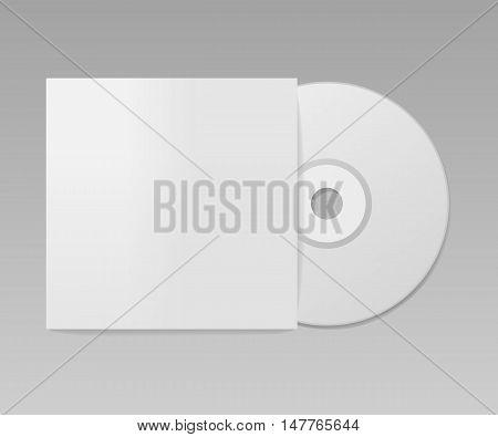 Blank realistic cd mockup, package design, vector illustration