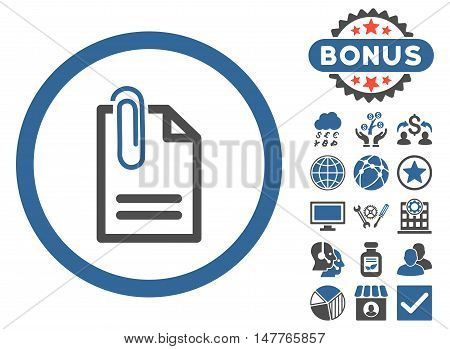 Attach Document icon with bonus images. Vector illustration style is flat iconic bicolor symbols, cobalt and gray colors, white background.