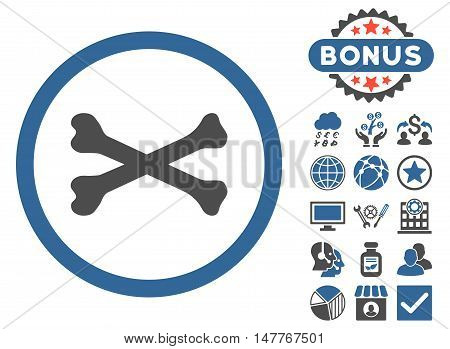 Bones Cross icon with bonus pictogram. Vector illustration style is flat iconic bicolor symbols, cobalt and gray colors, white background.
