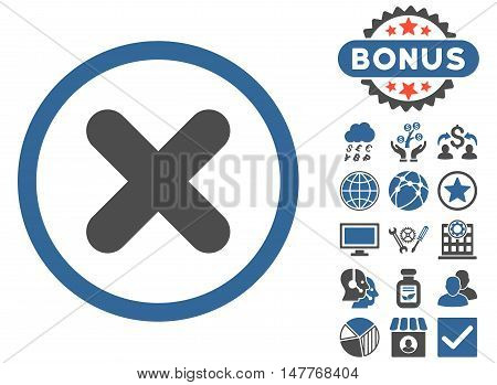 Cancel icon with bonus design elements. Vector illustration style is flat iconic bicolor symbols, cobalt and gray colors, white background.