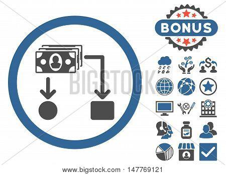 Cashflow icon with bonus symbols. Vector illustration style is flat iconic bicolor symbols, cobalt and gray colors, white background.