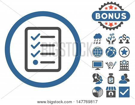 Checklist icon with bonus pictures. Vector illustration style is flat iconic bicolor symbols, cobalt and gray colors, white background.