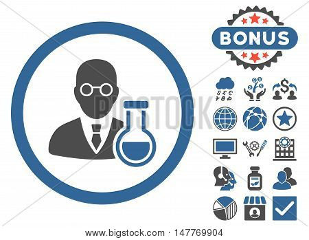 Chemist icon with bonus design elements. Vector illustration style is flat iconic bicolor symbols, cobalt and gray colors, white background.