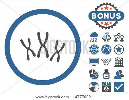 Chromosomes icon with bonus elements. Vector illustration style is flat iconic bicolor symbols, cobalt and gray colors, white background.