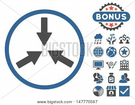 Collide Arrows icon with bonus images. Vector illustration style is flat iconic bicolor symbols, cobalt and gray colors, white background.