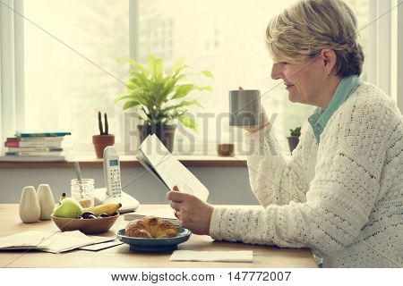 Senior Adult Drinking Water Mug Concept