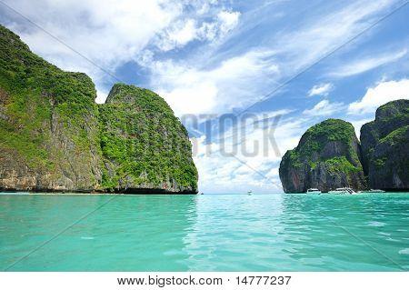 Beautiful lagoon at  Phi Phi Ley island, the exact place where