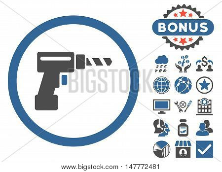 Drill icon with bonus design elements. Vector illustration style is flat iconic bicolor symbols, cobalt and gray colors, white background.