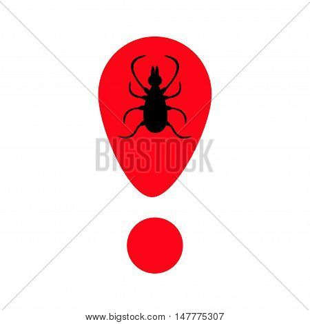 Tick insect silhouette. Mite deer ticks icon. Red exclamation point. Dangerous black parasite. White background. Isolated. Flat design. Vector illustration