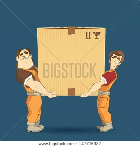 Transportation and delivery company illustration. Two workers mover man holding and carrying big heavy carton cardboard box. 3d color vector creative concept with characters.